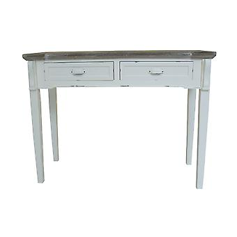 Charles Bentley Shabby Chic / Noodlijdende Franse Stijl 2 Lade console / Dressing / Gang Tafel Wit