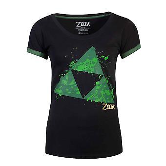 Zelda T Shirt Triforce Splatter Logo Official  Womens Skinny Fit Black