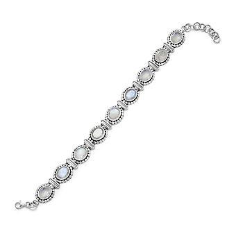 925 sterling zilver 8 inch geoxideerd Rainbow Moonstone armband kreeft gesp de stenen maatregel 10mmx8mm
