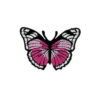 Aufnäher Ecusson Brode Flagge Rucksack Schmetterling Rose Thermocollant