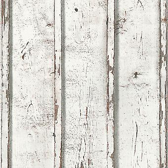 Rustic Wood Planks Wallpaper White AS Creation 9537-01