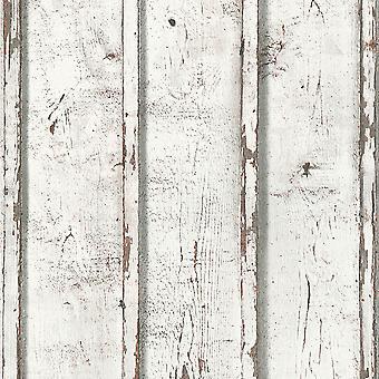 Venkovská Tapeta dřevěné Hobky bílá jako stvořením 9537-01