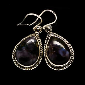 "Gabbro Stone Earrings 1 3/8"" (925 Sterling Silver)  - Handmade Boho Vintage Jewelry EARR392559"