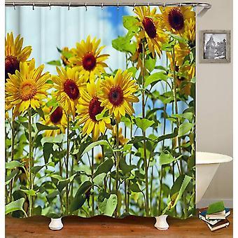 Lange Stiele Sonnenblumen Duschvorhang