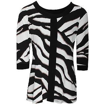 Frank Lyman Three Quarter Sleeve Zebra Print Tunic Style Top