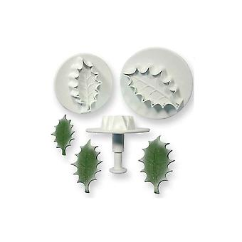 PME Extra Large Veined Holly Leaf Plunger Cutter Set Of 3