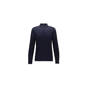 Hugo Boss Paver 12 Slim Fit Mercerised Navy Long Sleeve Polo