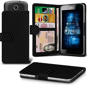 ONX3 Acer flydende E700 læder Universal foråret klemme tegnebog tilfældet med kortholderen Slot og pengesedler lomme-Carbon Black