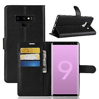 For Samsung Galaxy Note 9 Case,Lychee Texture Wallet Flip Leather Cover Black