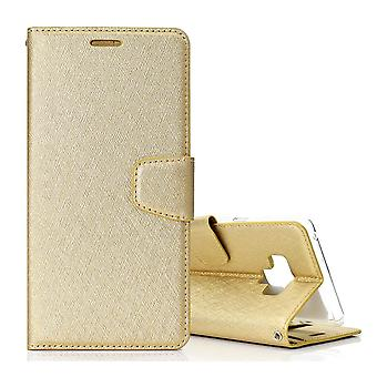 For Samsung Galaxy Note 9 Leather Wallet Case Gold Silk Texture Flip Cover
