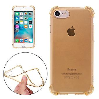 For iPhone SE(2020), 8 & 7  Case,Stylish Transparent Cushions Grippy Protective Cover,Gold