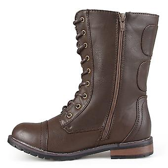 Brinley Co Womens Battle-02 Pointed Toe Mid-Calf Fashion Boots