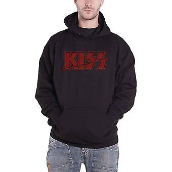KISS Hoodie Slashed Band Logo distressed new Official Mens Black Pullover