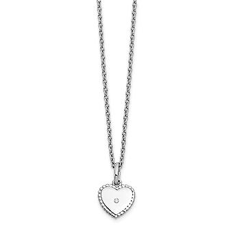 White Ice Diamond Love Heart Necklace 18 Inch Jewelry Gifts for Women - .02 dwt