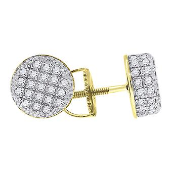 925 Sterling Silver Yellow tone Mens CZ Cubic Zirconia Simulated Diamond Round Stud Earrings Jewelry Gifts for Men