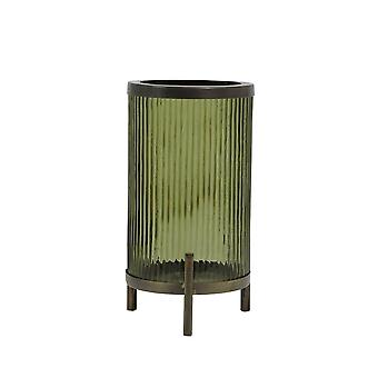 Light & Living Hurricane 15.5x31cm - Tibir Glass Olive Green And Antique Bronze