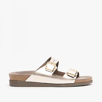 Mephisto Harmony Ladies Leather Mule Sandals Platinum