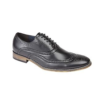 Goor Black Pu 5 Eyelet Brogue Oxford Shoe Leather Quarter Lining & ½ Sock Resin Sole