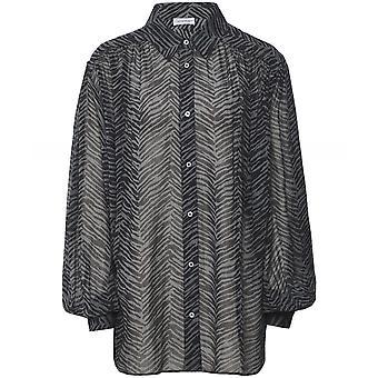 Anine Bing Caleb Zebra Print Silk Shirt