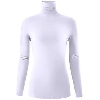 AUHEGN Women's Long Sleeve Lightweight Turtleneck Top, 01_white, Size X-Large