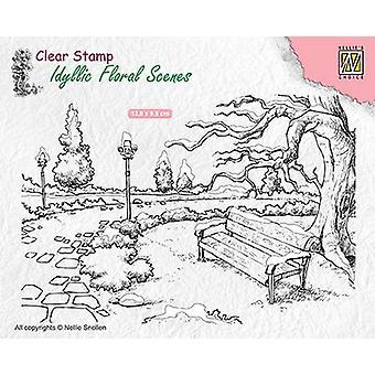 Nellie's Choice clearstamp - Idyllisk blomsterscener park med bænk IFS016 138x95mm