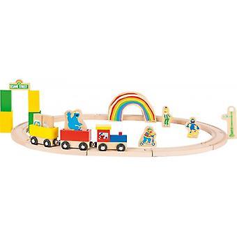 Houten treinbaan Sesamstraat
