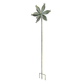 Verdigris Bronze Finish Metal Art Dual Flower Wind Spinner Garden Stake