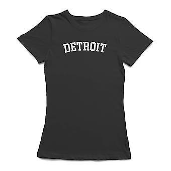 Detroit White Text  Women's Black T-shirt