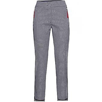 Bianca Navy & White Patterned Trousers