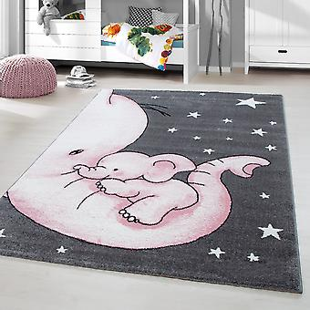 Children's Rug Short Flower Elephant Mom Kinderdagverblijf Grey Pink Gesmolten