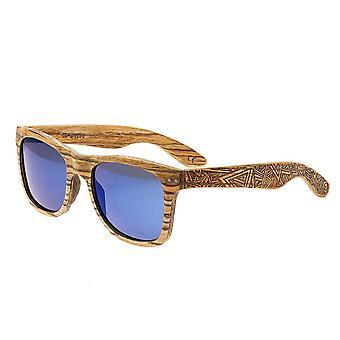 Earth Wood Cape Cod Polarized Sunglasses - Zebrawood/Blue