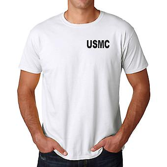USMC Marines Text Embroidered Logo - Cotton T Shirt