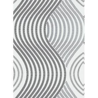 3D Effect Waves Textured Wallpaper Erismann Paste The Wall White Black Silver
