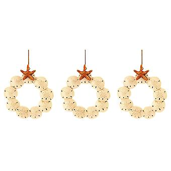 Sand Dollar with Starfish Wreath Christmas Holiday Ornaments Set of 3