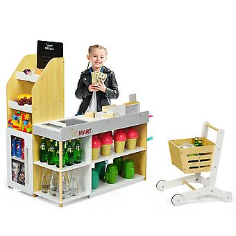 Wooden Kids Supermarket Stall Toy Shopping Trolley Grocery Store Pretend Play Set
