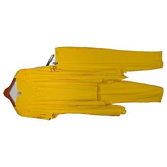 Masseys Plus Set Crochet Short-Sleeved Top & Pants Set Dandelion Yellow
