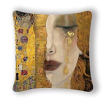 Gustav Klimt Oil Painting Cushion Cover - Vintage Decorative Gold Pattern Print Pillow Case