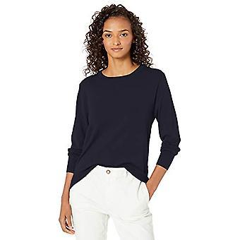Merkki - Daily Ritual Women's Fine Gauge Stretch Crewneck Pullover Sweater, Navy,Small