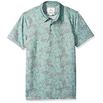 28 Palms Men's Standard-Fit Performance Cotton Tropical Print Pique Golf Polo Shirt, Washed Sage Green Hibiscus Floral, Small