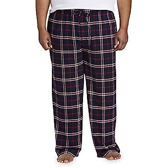 Essentials Men's Big & Tall Flannel Pajama Pant fit by DXL, Navy/Red P...