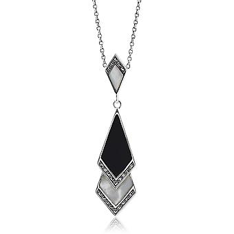 Art Deco Style Mother of Pearl, Black Onyx & Marcasite Pendant Necklace in 925 Sterling Silver 214N419501925