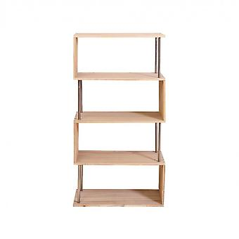 Rebecca Muebles Shelf Biblioteca 4 Modernos Estantes de Madera Natural 126x66x33