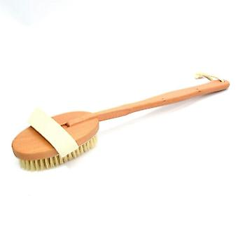 Natural Long Wooden Bristle Massager, Shower Brush - Detachable Scrubber