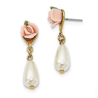 Tono oro Postde acero quirúrgico Rosa Rosa Plata Pendientes de joyería regalos de joyería para las mujeres