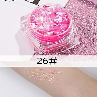 26 couleurs glitter eyeshadow powder, rainbow gold, argent, rose Flake Long