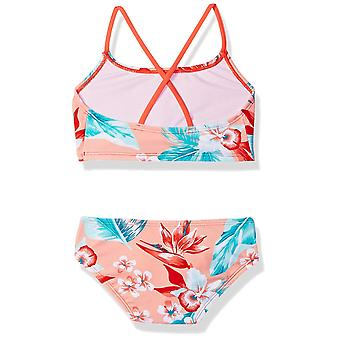 Kanu Surf Big Girls' Alania Flounce Bikini Beach Sport 2-Piece Swimsuit, Floral Coral, 12