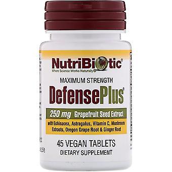 NutriBiotic, DefensePlus, Maximale sterkte, 45 veganistische tablets