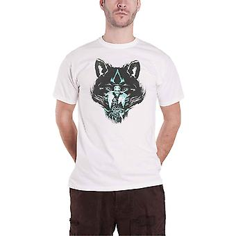 Assassins Creed Valhalla T Shirt Wolf Logo new Official Gamer Mens White