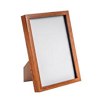 "Nicola Spring Acrilic Box Photo Frame - Dark Wood - 8 x 12"" (A4)"
