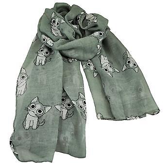 Ties Planet Cat Animal Print Grey Lightweight Women's Shawl Scarf